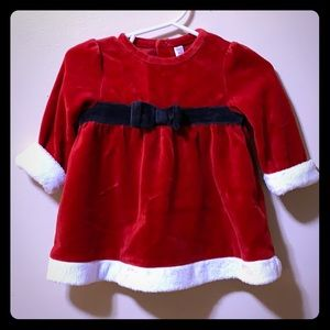 Baby girls Cherokee red velvet dress white trim